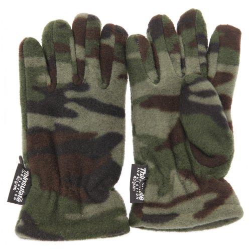 Guantes térmicos Thinsulate con estampado de camuflaje para niños (3M 40g) (7-10 años/Verde camuflaje)