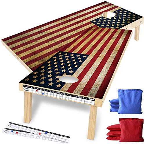 Wood Premium American Flag Cornhole Set, Backyard Lawn Cornhole Outdoor Game Set, Regulation Size 4ft x 2ft Cornhole Boards & 8 Cornhole Bean Bags & 2 Cornhole Scoreboards w/ Magnetic Score Keepers