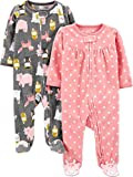 Simple Joys by Carter's Girls' 2-Pack Fleece Footed Sleep and Play, Dots/Animals, 6-9 Months