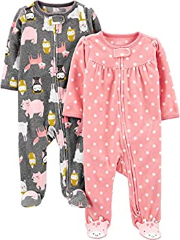 Simple Joys by Carter s Girls  2-Pack Fleece Footed Sleep and Play Dots/Animals Preemie