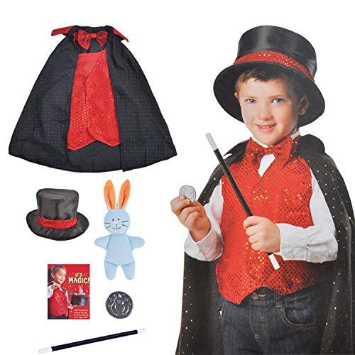 boogift Disfraz Mago niño-Trucos Magia Set Infantil-Disfraz de Mago para niños Juego de Magia,Accesorios Capa Mago Gorro Mago Varita Mago Guantes Mago Disfraz de rol para Carnaval Halloween Fiesta