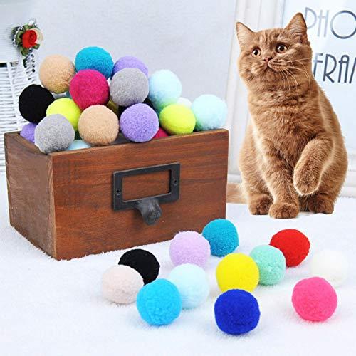 QDCITT 30Pcs Bunte elastische Plüschkugeln Bissbeständige Backenzahn-Reinigungsspielzeug für Katze Heimtierbedarf im Groß- oder Einzelhandel