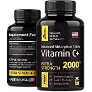 Vitamin C 2000 mg for Immune Support - Made in USA - Ascorbic Acid Vitamin C Capsules for Adults & Kids - Pure Vitamin C for Energy Boost - Kids Vitamin C with High Absorption