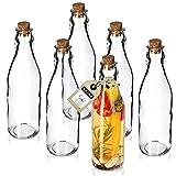 KADAX Juego de 6 botellas universales con tapón de corcho, botella de cristal transparente con tapón de corcho, jarra de aceite, botella de cristal, botella de aceite (225 ml, 6 unidades)