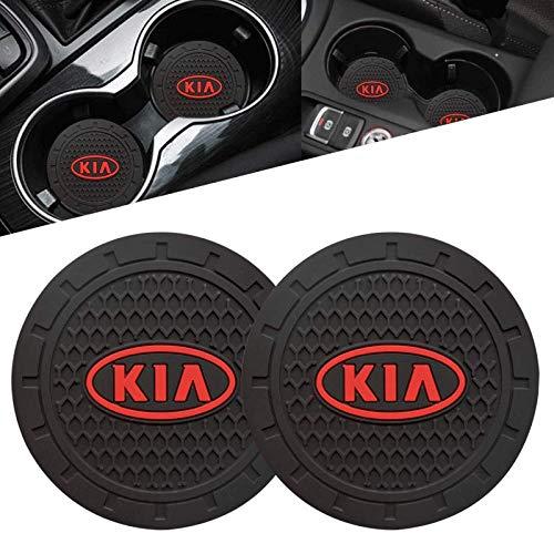 "2 Pcs Car Cup Holder Insert Coaster with KIA Logo 2.75"" Vehicle Travel Auto Silicone Anti Slip Cup Mat Car Interior Accessories Fit for KIA K5 K7 Sportage Soul NIRO Sorento Sedona"