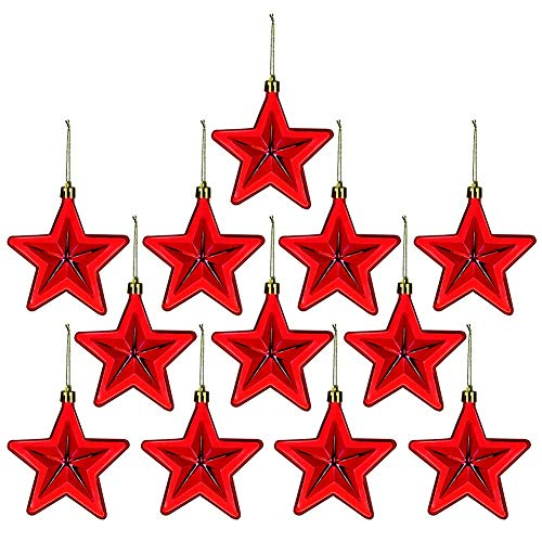 Whiidoom 12 Pieces Hanging Star Ornament Shatterproof Holiday Christmas Tree Decoration (Red)