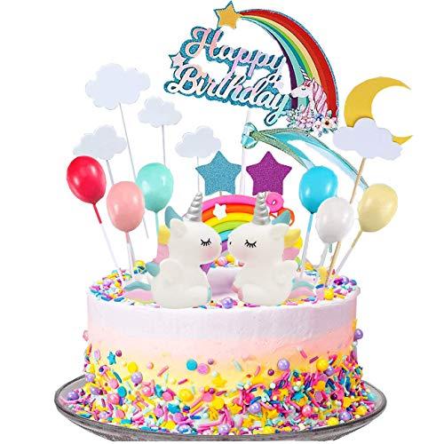 Juego de 23 adornos para tarta de unicornio, nube, arcoíris, globos de feliz cumpleaños, banderines, decoración de tartas para niños, niñas, cumpleaños