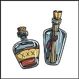 Adhesivo decorativo para azulejos de baño & de la cocina - cocina de azulejos blancos individuales fluir se recomienda - piratas - botella de misterio lleno de piratas, 10 x 10 cm