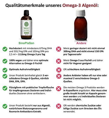 Omega 3 Algenöl, 998mg DHA & 535mg EPA pro 2.5ml, vegan, JETZT MIT TROPFER & allen ANALYSEN, 100 ml - 5