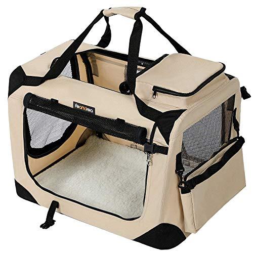 FEANDREA Bolsa de Transporte para Mascotas Transportín Plegable para Perro Portador Tela Oxford Beige XXXL 102 x 69 x 69 cm PDC10W