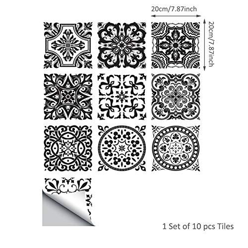INMOZATA Fliesenaufkleber 20 x 20cm 10 Stück Fliesenfolie Bad Fliesensticker Küche Kleberfolie Mosaikfliesen Selbstklebend PVC Wasserdicht für Deko Marokkanischstil