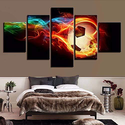Cczxfcc, canvas van hennep geschilderd met print van thuisdecoratie, 5 stuks kunst van de muur, sportfoto's van de bol ter illustratie van de creatieve woonkamer 30x40/60/80cm-nessuna Cornice