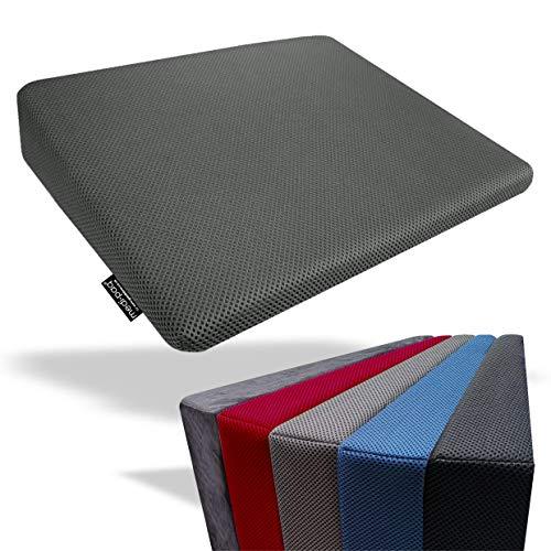 Medipaq Cuscino Memory Foam per Rialzo - Supporto Schiena - Postura Migliore - Cuscino Viaggio - Allevia Il Dolore e Aumenta l'Altezza – Fodera in Maglia 3D Lavabile – Fondo Antiscivolo - Grigio