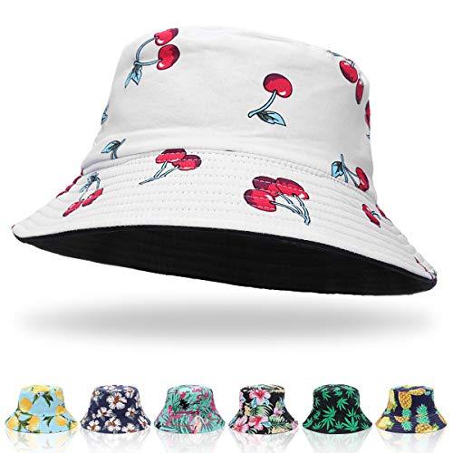 ECOMBOS Fischerhut Damen Bunt - Unisex Sonnenhut Bucket Hat Anglerhut Fishermütze Muster Früchte Outdoor Sommerhut