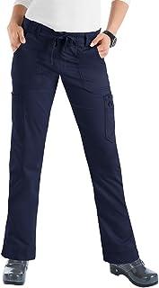 KOI Women's Stretch Lindsey Mid-Rise Drawstring Waist Cargo Scrub Pants (Petite Sizes)
