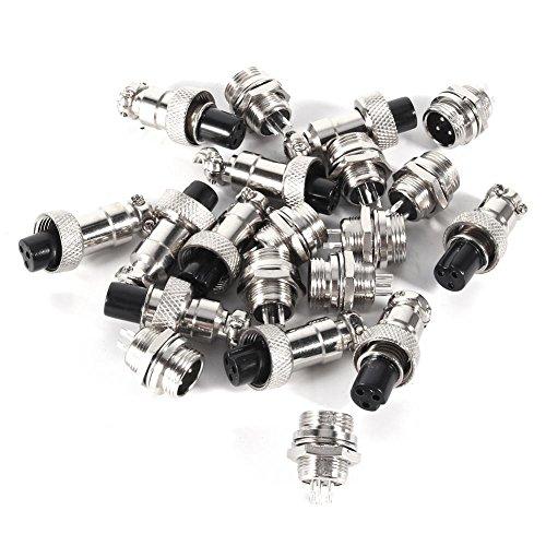GX12 3-polige Metall-Luftfahrt-Steckverbinder, männlich und weiblich, 12 mm Buchse, selbstsichernd, 10 Stück