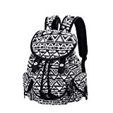 Canvas Backpack Check Printed Backpack School Bag for Teen Girls (Black 125)