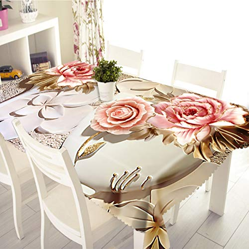 Rubyia Rectangle Table Cloths, Wipeable Table Cover Rose Pattern, Polyester, 90 x 140 cm (35' x 55'), White Pink