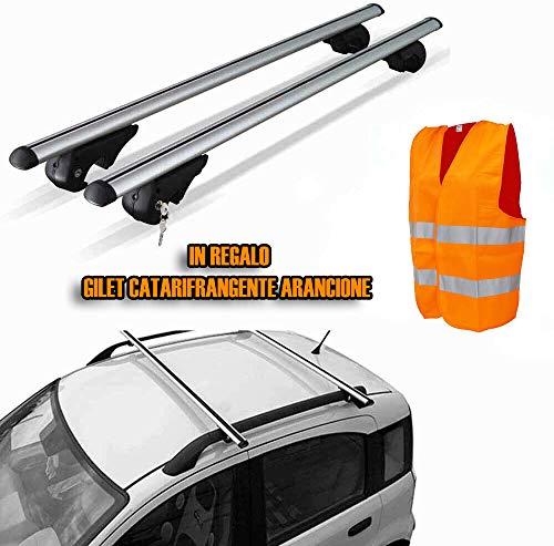 F.LLI IANNACCONE SRL Barre universali Portapacchi per Auto 120cm con Barre longitudinali Gia montate + Gilet Omaggio
