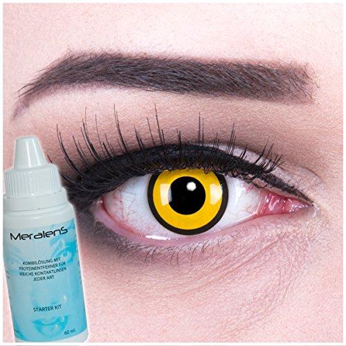 Farbige schwarze gelbe Crazy Fun Kontaktlinsen Black Yellow mit gratis Linsenbehälter + 60ml Pflegemittel Topqualität zu Karneval und Halloween