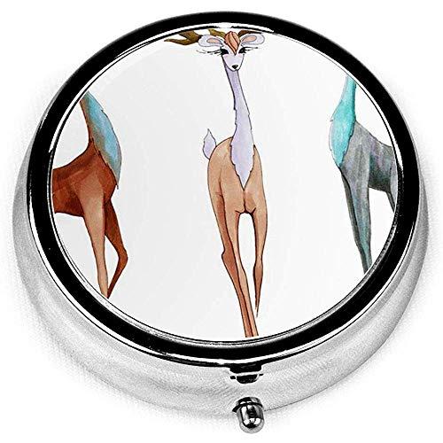 Pastillero redondo con 3 compartimentos; Pastillero de viaje, marcador de animales, personajes de ciervos brillantes de dibujos animados celebracin, disfraz de Navidad