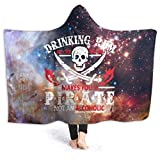 Drinking Rum Before Noon Makes You A Pirate Hooded Blanket 3D Printed Plush Blanket Wearable Winter Warm Throw Blanket for Bed Home Sofa Office Cape