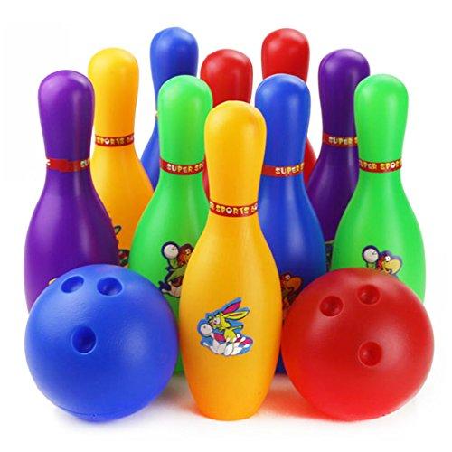 iTECHOR Bunte 12 Stück Bowling-Set, Kinder Pädagogisches Spielzeug für Home Indoor Outdoor Sport (groß)