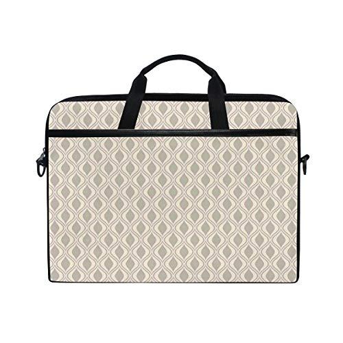VICAFUCI New 15-15.4 Zoll Laptop Tasche,Umhängetasche,Handtasche,Abstrakte Verzierung mit vertikalen gewellten Linien kurvige altmodische geometrische Fliese