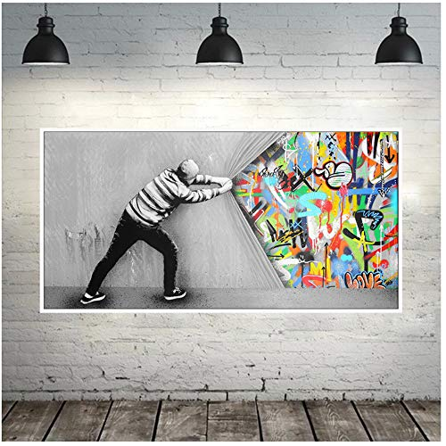 """Sunglade HD druckt Graffiti-Kunstwandbilder für das Wohnzimmer hinter dem Vorhang Street Art-Leinwandbilder an der Wand Dekorbild 50 x 100 cm (19,6""""x 39,4"""") ohne Rahmen"""