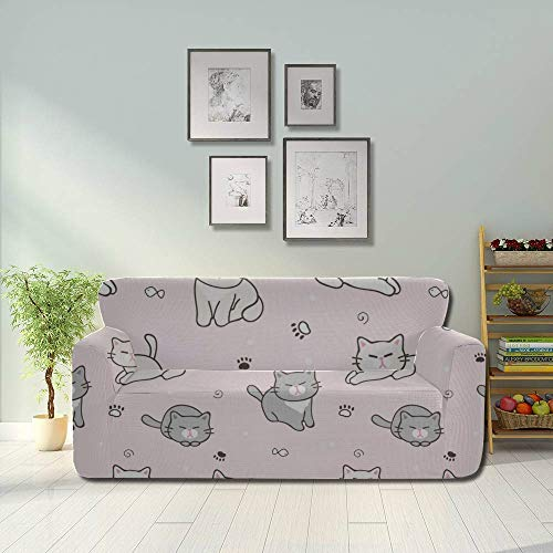 JOCHUAN Kawaii Cute Cat Animal Stretch Sofa Seat Cover Seat Covers Sofa Fitted Furniture Protector 2&3 Seat Sofas