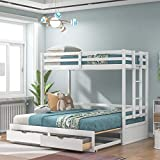 Twin Over Twin/Full/Queen/King Bunk Bed ,New Version Wooden Bunk Bed with Drawers ,Extendable Pull-Out Bunk Bed ,Convertible to Daybed and Loft Bed , Functional Twin Bunk Bed ,White