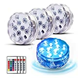 Submersible LED Lights with Remote Control, 4 Packs Waterproof Underwater Lights, Bath Lights with 16 Colors Pond Light, EFX Led Light for Aquarium,Vase, Hot Tub, Swimming Pool and Party Decoration