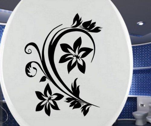 WC Deckel Aufkleber Toiletten Blumenranke Blume Blumen Tattoo, Badezimmer Ornament Wandtattoo Toilettendeckel Türaufkleber Autoaufkleber 3C052, Farbe:Dunkelgrau Matt, Hohe:25cm