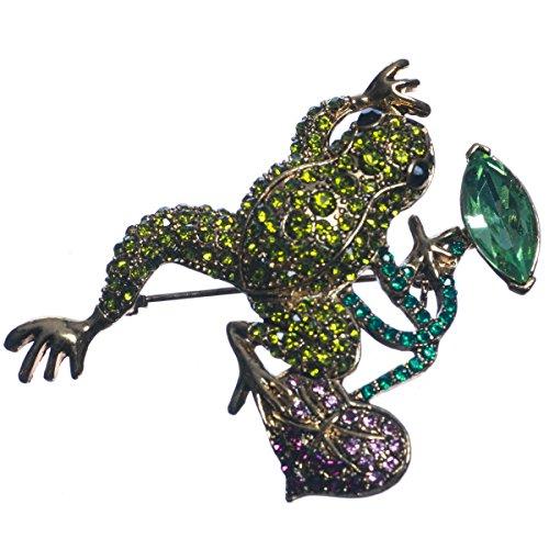 Tono de oro cristal verde rana en color morado y Lily Pad broche
