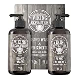 Viking Revolution Beard Wash & Beard Conditioner Set w/Argan & Jojoba Oils – Softens, Smooths & Strengthens Beard Growth - Natural Peppermint and Eucalyptus Scent - Beard Shampoo w/Beard Oil (17 oz)