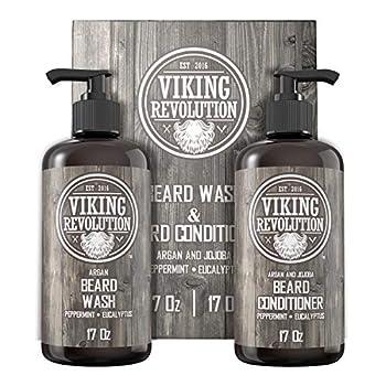 Viking Revolution Beard Wash & Beard Conditioner Set w/Argan & Jojoba Oils – Softens Smooths & Strengthens Beard Growth - Natural Peppermint and Eucalyptus Scent - Beard Shampoo w/Beard Oil  17 oz