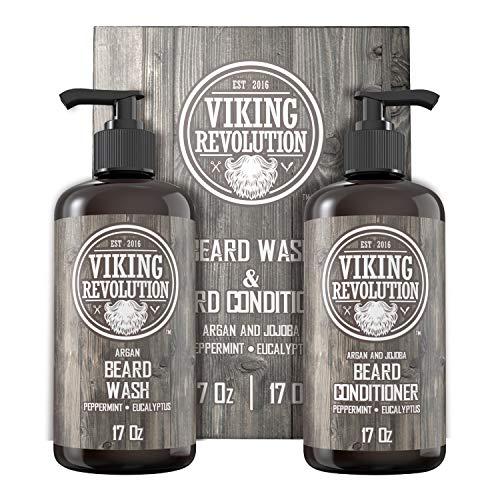 Viking Revolution Beard Wash & Beard Conditioner Set w/Argan & Jojoba Oils – Softens, Smooths & Strengthens Beard Growth - Natural Peppermint and Eucalyptus Scent - Beard Shampoo w/Beard Oil (17 oz)