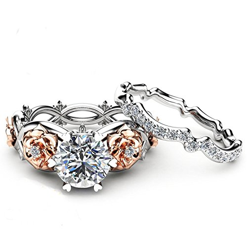 KV New Women Silver & Rose Gold Filed White Wedding Engagement Floral Ring Set Engagement Rings for Womens Jewelry Valentine's Day Presents(Silver 6-10)