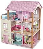 Besttoy Holz-Puppenhaus 3-stöckig mit Möbeln
