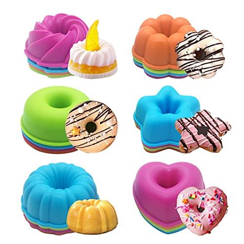 24er-Pack Silikonformen, Muffin-Donut-Form Antihaft-hitzebeständiger Ofen - Mikrowelle - spülmaschinenfest, Mini-Donut-Form Pfanne Kuchenform für Küche, Backen, Cupcake