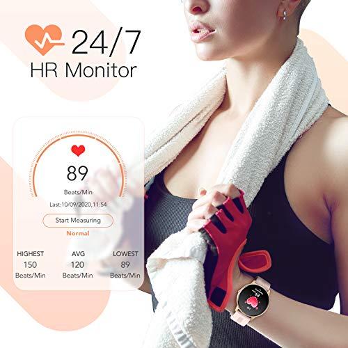 AGPTEK Smartwatch Mujer, Reloj Inteligente Deportivo 1.3 Pulgadas Táctil Completa IP68, Monitor de Sueño, Seguimiento del Menstrual, Control de Musica Regalo Navidad miniatura