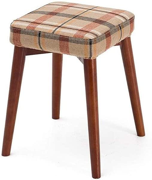 卡尔阿特贝木制脚凳米色红色格子坐垫实木凳子创意时尚梳妆凳布艺桌凳家用小板凳家用彩色棕色木架