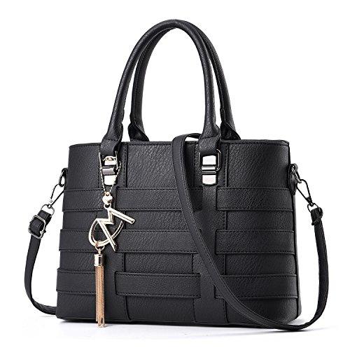 TIBES Faux Leder Umhängetasche Business Handtasche Frauen Satchel Mädchen Schwarz
