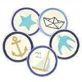 Bügelbilder Set maritime Flicken zum aufbügeln 5 Aufbügler 5cm Anker Stern Segelschiff Schwalbe Boot Bio Patches mini Bügelflicken nature creme beige