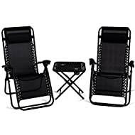 3PCS Black Zero Gravity Recliner Chaise Lounge Chair Portable Folding Table 2 Cup Holders Foldable Design Patio Outdoor Garden Yard Camping Picnic Pool Beach Décor Furniture Steel Tubes Construction