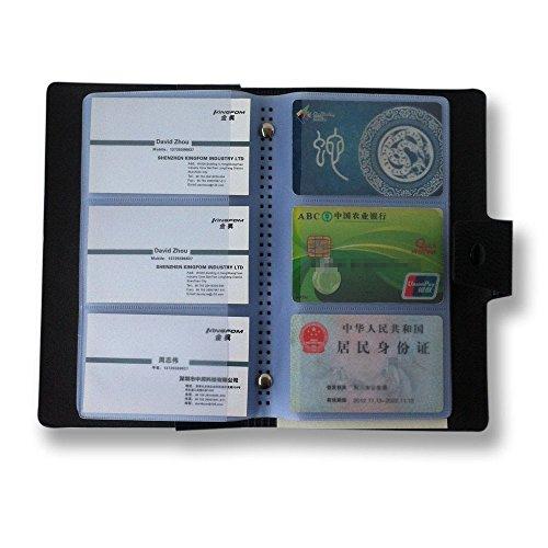 KINGFOM Tarjetero con capacidad para 300 tarjetas de visita, color negro