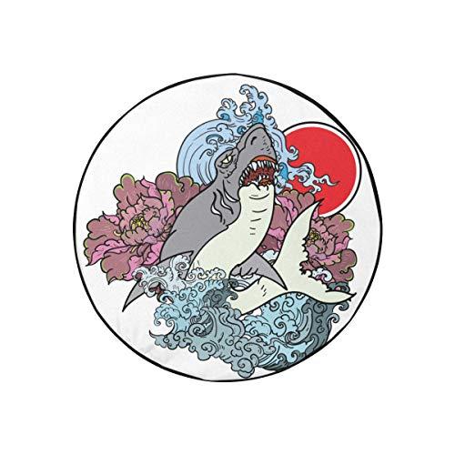 Cubiertas de llantas para remolques con tatuaje de tiburón japonés, flor de peonía, cubiertas de llantas de repuesto para remolques, a la moda, portátil, a prueba de polvo, cubierta de llantas de rep