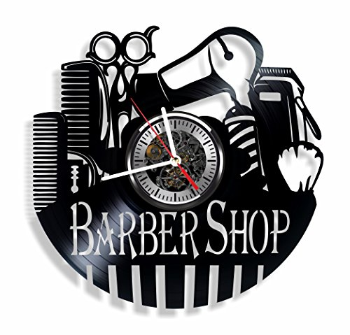 Barber Shop vinyl wall clock - handmade decor and gift idea for beauty salon ,hairdressers, barbers and beauty stylists