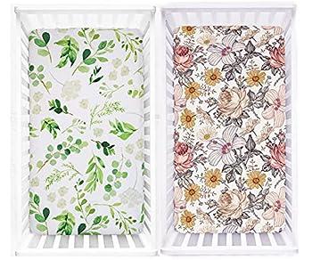 HNHUAMING Crib Sheet Set 100 Jersey Cotton Fitted Cotton Baby & Toddler Universal Crib Sheets  Green Leaves Floral Crib Sheet Set   F-2021125