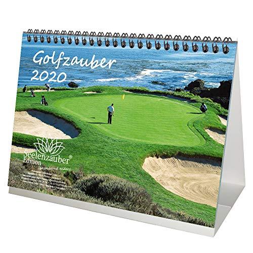 Golfmagie DIN A5 tafelkalender 2020 Golf en golf cadeauset: 1 extra wenskaart en 1 kerstkaart - zielmagie